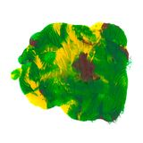 Green, yellow, brown acrylic paint abstract monotyped  spot. Abstract acrylic paint monotyped spot. Green, yellow, brown. Bright colors. Vector illustration Royalty Free Stock Photography