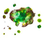 Green, yellow, brown acrylic paint abstract spot floral shaped. Abstract acrylic paint monotyped spot. Green, yellow, brown. Bright colors. Vector illustration Royalty Free Stock Image