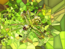 Green, Yellow and Brown Stained Glass Pattern Royalty Free Stock Photography