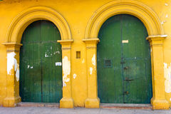 Green and Yellow Building in Cartagena Royalty Free Stock Photography