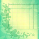 Green and yellow calendar template with hearts Royalty Free Stock Images