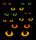 Green and yellow cat eyes in darkness Royalty Free Stock Photos
