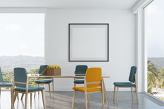 Green and yellow chairs dining room, poster. White dining room interior with long wooden and glass table, blue and yellow chairs, a framed square poster and loft vector illustration
