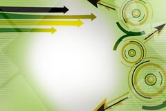 green and yellow circle with arrow, abstract background Royalty Free Stock Image