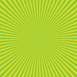 Green-yellow color burst background of light rays. Cartoon and comics style background. Vector illustration Stock Image
