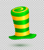 Green and yellow colors striped realistic vector carnival hat isolated on transparency grid background Royalty Free Stock Photos