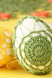 Green and yellow crochet Easter eggs Royalty Free Stock Photo