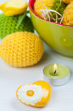 Green yellow crocheted easter eggs Stock Photography