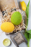 Green yellow crocheted easter eggs Royalty Free Stock Photos