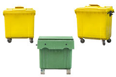 Green and yellow dumpsters isolated on white background Stock Photos