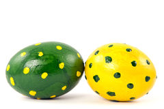 Green and yellow easter eggs Royalty Free Stock Image