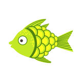 Green And Yellow Fantastic Colorful Aquarium Fish, Tropical Reef Aquatic Animal. Fantasy Underwater Marine Fauna Cartoon Sea Water Fish Isolated Vector Stock Image