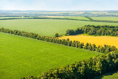 Green and yellow fields above aerial view Royalty Free Stock Image