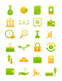 Green-yellow finance icons set Stock Photos