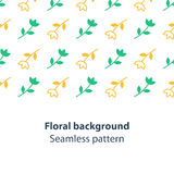 Green and yellow flowers fancy backdrop pattern. Seamless subtle flower pattern and background, vector illustration Royalty Free Stock Image