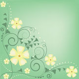 Green and yellow flowers and swirls pattern Royalty Free Stock Photo
