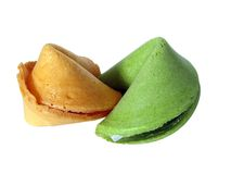 Green And Yellow Fortune. Couple cookies stock image