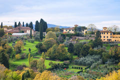 Green and yellow gardens in suburb of Florence Royalty Free Stock Photography