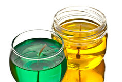 Green and yellow gel candles Stock Images