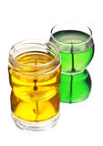 Green and yellow gel candles Royalty Free Stock Images