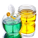 Green and yellow gel candles Stock Photos