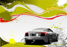 Green and Yellow grunge background with car image Royalty Free Stock Photography