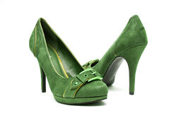 Green and Yellow High Heels on a White Background Stock Photography