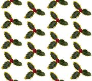 Green and yellow holly leaves, some with berries, on a white background. Seamless so image can be repeated endlessly. Perfect for printed fabric, wrapping Royalty Free Stock Photography