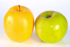 Green and yellow juicy apples. The green and yellow juicy fresh apples Stock Photos