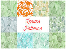Green and yellow leaves seamless patterns set royalty free illustration