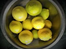 Lemons in the Bowl. Green and yellow lemons indoor in a bowl Stock Photography