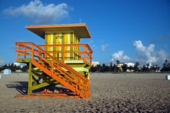 Green and Yellow Lifeguard Tower in South Beach Royalty Free Stock Image