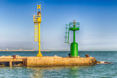 green and yellow lighthouses Royalty Free Stock Photos