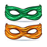Green and yellow mask for face character super hero in the style of comics Royalty Free Stock Image
