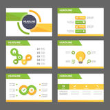 Green and yellow multipurpose Brochure flyer leaflet website template flat design Royalty Free Stock Photography