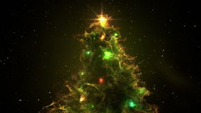 Green Yellow Nebula Christmas Fir Tree background seamless loop 4k resolution. stock footage