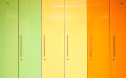 Green Yellow and Orange Lockers Stock Photo