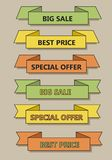 Green yellow orange retro colors outline vector ribbon banner co. Llection, in trendy flat  vintage style variation, text special offer, best price and big sale Stock Images