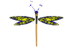 Green yellow paint made dragonfly. Green yellow paint made conceptual dragonfly stock illustration
