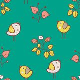 Green and yellow pastel birdy pattern. Cute kids vector pattern with birds and strawberry and different garden plants. Good for background, printing and textile Stock Photo