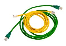 Green and yellow patch cords. Stock Images
