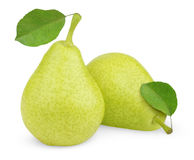 Green yellow pears with leaves Stock Photos