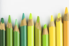Green and Yellow Pencils Stock Photo
