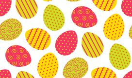 Colorful easter eggs seamless pattern. Green, yellow and pink easter eggs seamless pattern on white background made in vektor Stock Image