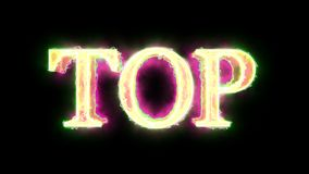 Green Yellow Pink flame energy Top word overlay 4k 3D animation stock video footage