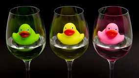 Green, yellow and pink rubber ducks in wineglasses Royalty Free Stock Image