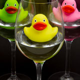 Green, yellow and pink rubber ducks in wineglasses Royalty Free Stock Photos