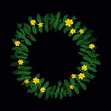 Green yellow plant leaf flower wreath border frame decoration on black. Potentilla anserina green yellow plant leaf flower wreath border frame decoration on Stock Illustration
