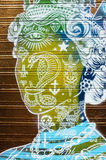 Green and yellow queens head graffiti Royalty Free Stock Image