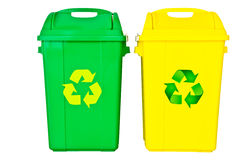 Green and yellow recycle bin. On isolated white background, clipping path Stock Photos